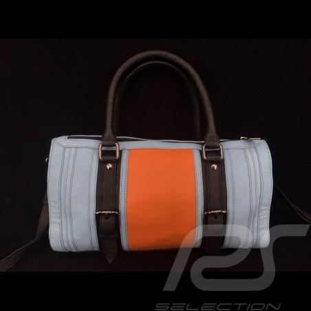 Sac à main Handbag Handtasche No logo style bowling cuir bleu Gulf  / orange / noir