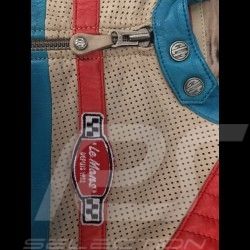 Leather jacket 24h Le Mans 66 Hotroad beige / turquoise / red - lady