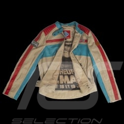 Veste cuir 24h Le Mans 66 Hotroad beige / turquoise / rouge - femme jacket jacke