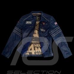 Veste Jacket Jacke cuir leather Leder 24h Le Mans 66 Mulsanne Bleu Royal - homme
