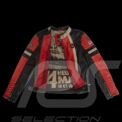 Leather jacket 24h Le Mans 66 Firestarter red / black / beige - lady
