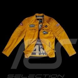 Veste Jacket Jacke cuir leather Leder 24h Le Mans 66 Mulsanne Jaune moutarde - homme
