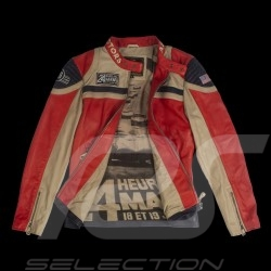Leather jacket 24h Le Mans 66 Indianapolis  red / beige / navy blue - men