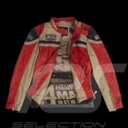 Veste cuir 24h Le Mans 66 Indianapolis rouge / beige / bleu marine - homme jacket jacke