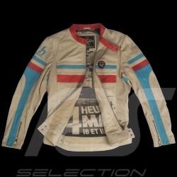 Veste cuir 24h Le Mans 66 Hunaudieres beige / turquoise / rouge - homme