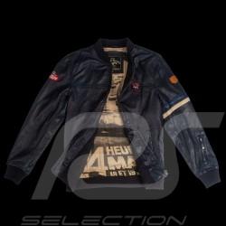Veste Jacket Jacke cuir leather Leder 24h Le Mans 66 Arnage Bleu Marine - homme