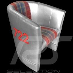 Fauteuil cabriolet Racing Inside n° 722 gris / rouge / tissu écossais