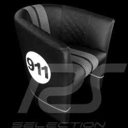 Tub chair Racing Inside n° 911 black / white / pépita fabric