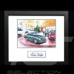Porsche 356 A Carrera New York Showroom Green Wood frame black with black and white sketch Limited edition Uli Ehret - 663-N