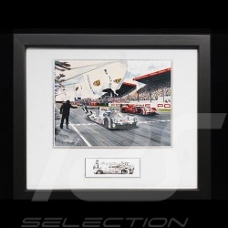 Porsche 919 n°19 Le Mans 2015 victory wood frame Black with black and white sketch Limited edition Uli Ehret - 566