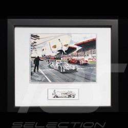 Porsche 919 n°19 victoire Le Mans 2015 cadre bois Noir avec esquisse noir et blanc Edition limitée Uli Ehret - 566