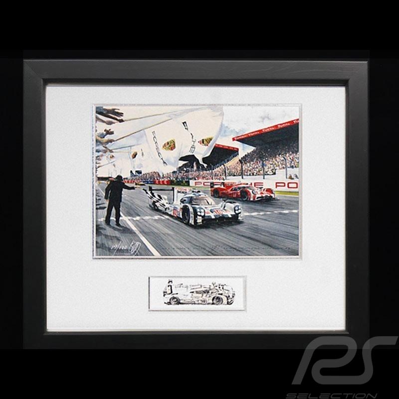 Porsche 919 n°19 Le Mans 2015 victory wood frame Black with black and white sketch Limited edition Uli Ehret - 566