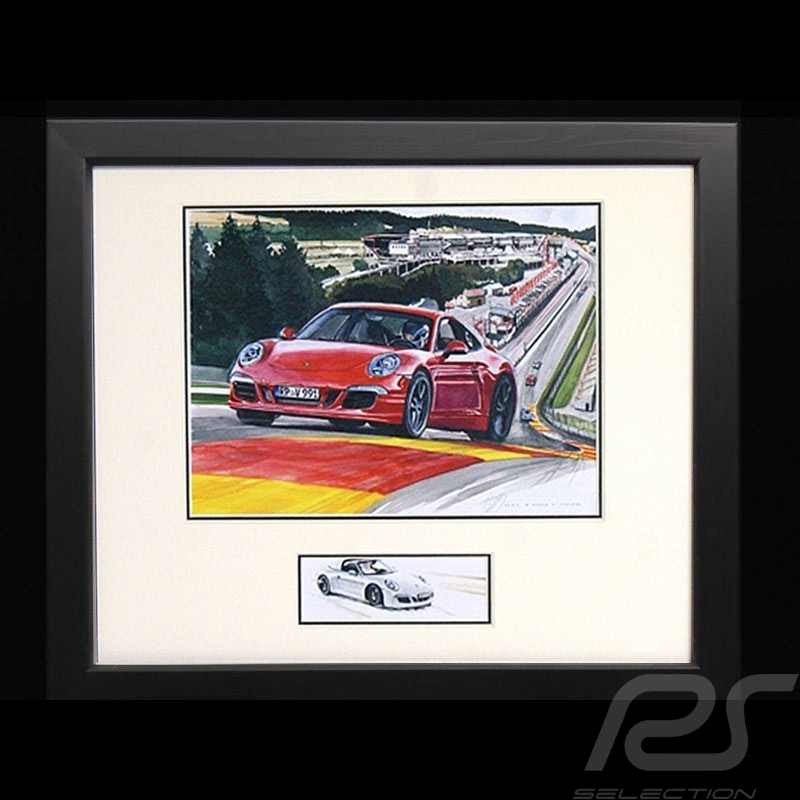 Porsche 911 type type 991 Spa red wood frame Black with black and white sketch Limited edition Uli Ehret - 628