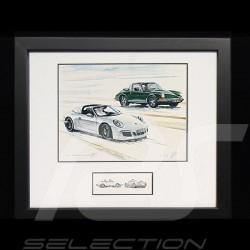 Porsche 50 ans Duo 911 Targa 1966 / 2016 cadre bois Noir avec esquisse noir et blanc Edition limitée Uli Ehret - 648