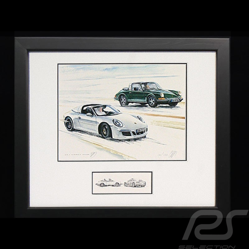 Porsche 50 years Duo 911 Targa 1966 / 2016 wood frame Black with black and white sketch Limited edition Uli Ehret - 648