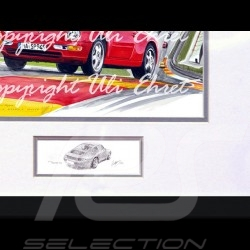 Porsche 911 type type 993 Spa red wood frame aluminum with black and white sketch Limited edition Uli Ehret - 650