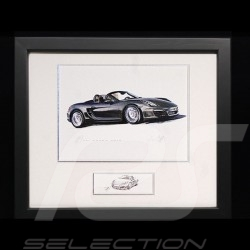 Porsche Boxster 981 black wood frame Black with black and white sketch Limited edition Uli Ehret - 545