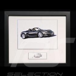 Porsche Boxster 981 noir cadre bois Noir avec esquisse noir et blanc Edition limitée Uli Ehret - 545