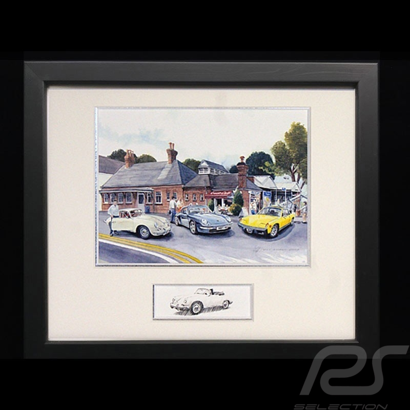 Porsche 356, 911 type 993 and 914 Trio Wood frame Black with black and white sketch Limited edition Uli Ehret - 707