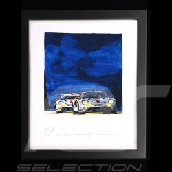 Porsche 911 RSR type 991 24h du Mans 2020 wood frame Black with black and white sketch Limited edition Uli Ehret - 628