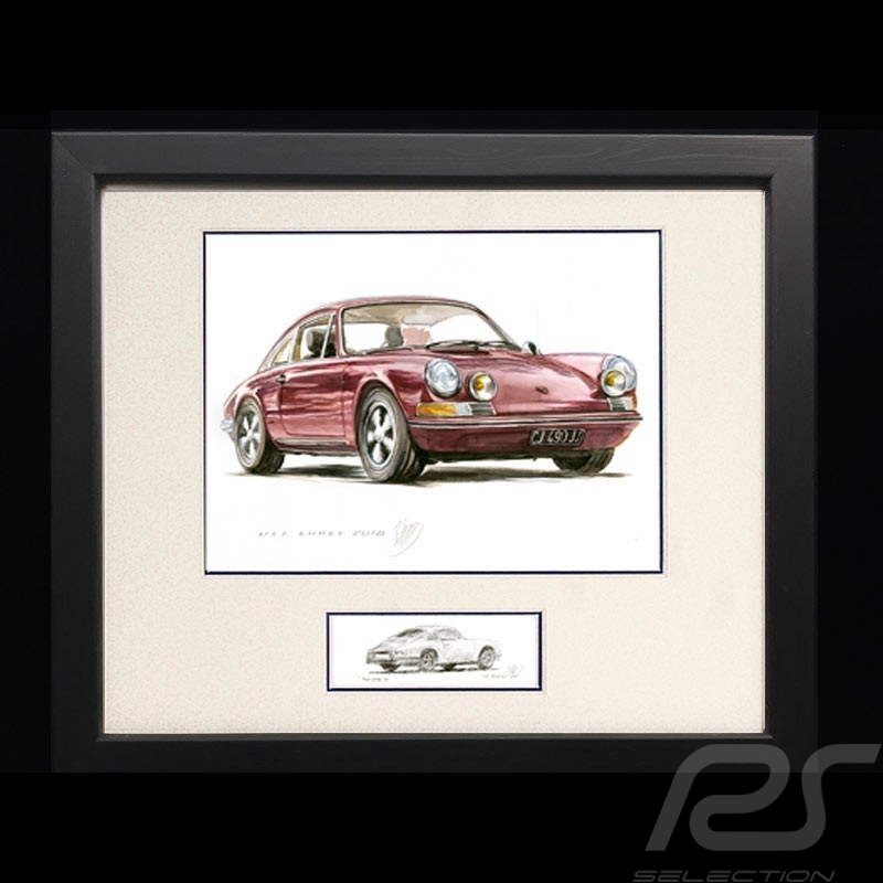 Porsche 911 Classic Fuschia pink Wood frame Black with black and white sketch Limited edition Uli Ehret - 748