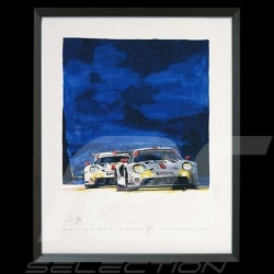 Porsche 911 RSR type 991 24h du Mans 2020 Big aluminum frame with black and white sketch Limited edition Uli Ehret - 104B
