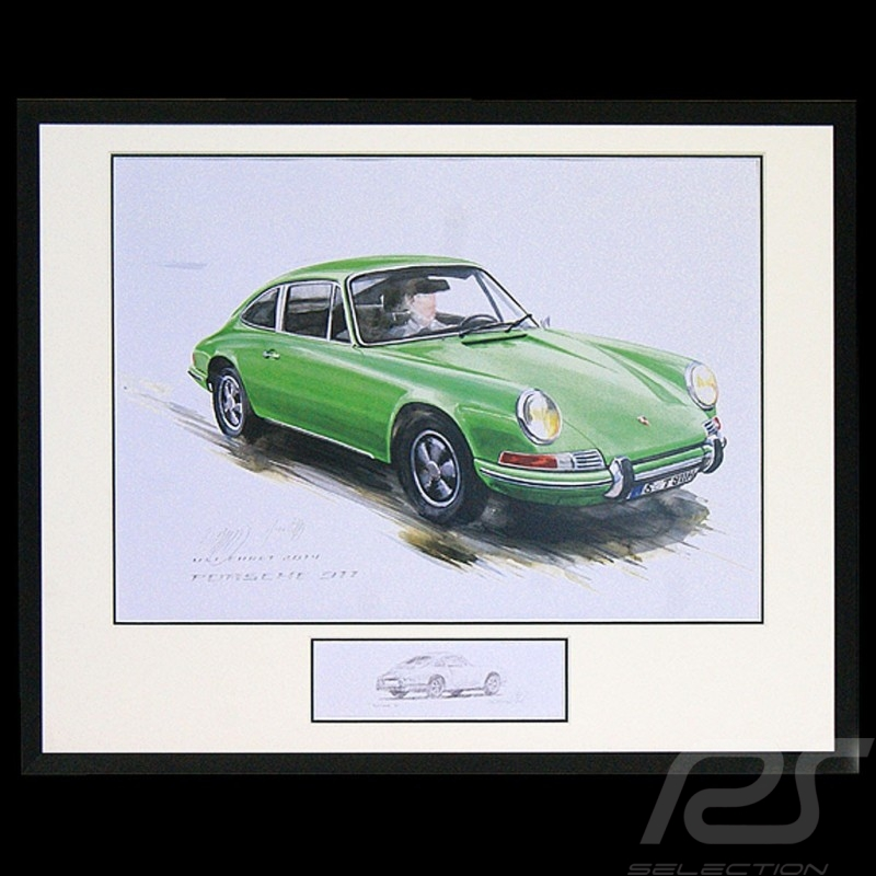 Porsche 911 Classic green Big black aluminum frame with black and white sketch Limited edition Uli Ehret - 527