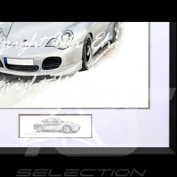 Porsche 911 type 996 Turbo white Big black aluminum frame with black and white sketch Limited edition Uli Ehret - 104B