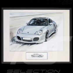 Porsche 911 type 996 Turbo blanche Grand cadre aluminium noir avec esquisse noir et blanc Edition limitée Uli Ehret - 104B