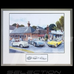 Porsche 356, 911 type 993 et 914 Trio Big aluminum frame with black and white sketch Limited edition Uli Ehret - 707