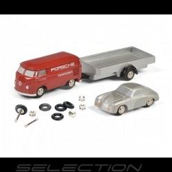 Porsche transporter VW T1 Combi with Porsche 356 and trailer self montage kit 1/87 Schuco 450557900