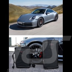 Luggage set for Porsche 992 Custom fit black fabric - Wheeled trolley plus carrier bag