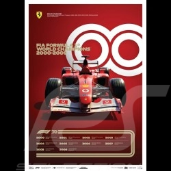 Poster Ferrari F1 World champions 2000 - 2009 Edition limitée
