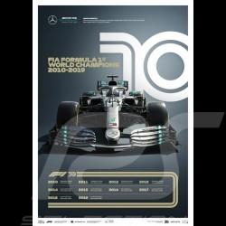 Poster Mercedes AMG Petronas F1 Team 70ème anniversaire 2010 - 2019 Edition limitée