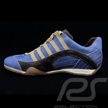 Chaussure Sport sneaker / basket Style pilote Bleu Pacifique / marron V2 - homme