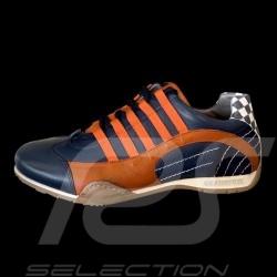 Chaussure Sport sneaker / basket Style pilote Bleu marine / orange - homme