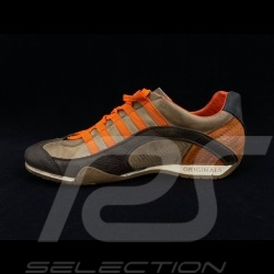 Chaussure Shoes Schuhe Sport sneaker / basket Style pilote Marron / orange - homme