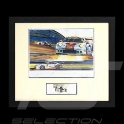 Porsche 911 typ 991 RSR n° 86 Gulf Racing Schwarze Rahmen mit Schwarz-Weiß Skizze Limitierte Auflage Uli Ehret - 626