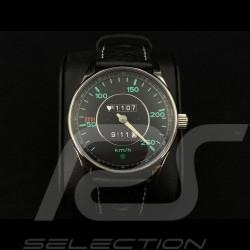 Montre compteur de vitesse Porsche 911 250 km/h boitier chrome / fond noir / chiffres verts