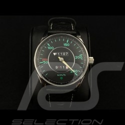 Porsche 911 250 km/h speedometer Watch chrome case / black dial / green numbers