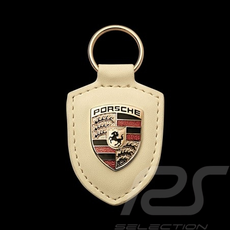 Porte-clés keyring Schlüsselanhänger Porsche écusson blanc crème cream white creme weiß Porsche WAP0500960E