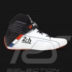 Chaussure de pilote 24h Le Mans FIA Bottine Cuir Blanc Pilot shoes Pilotenschuh homme