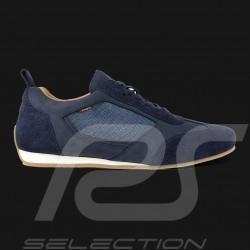 Chaussure de conduite Sneaker sport 24h Le Mans Cuir / Toile Bleu marine Driving shoes Fahrschuh homme