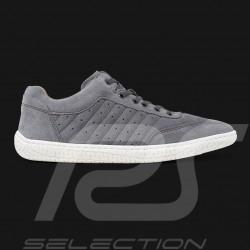 Chaussure de conduite Sneaker sport Suede Cuir Gris Driving shoes Fahrschuh homme