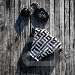 Pepita mask Houndstooth pattern Protective and washable Black / white Size L