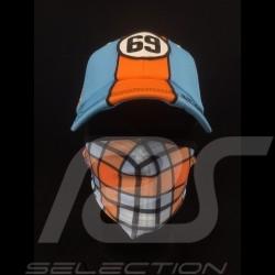 Masque Gulf de protection motif Tartan Tissu Lavable Bleu / orange Taille L protective mask Schutzmaske