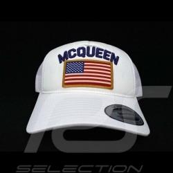 Casquette Hat Kappe Cap Steve McQueen Snapback Blanche Drapeau USA - homme