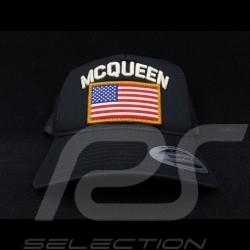 Steve McQueen Kappe Snapback Schwarz USA Flagge - Herren