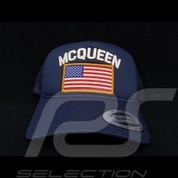 Casquette Hat kappe capSteve McQueen Snapback Bleu marine Drapeau USA - homme