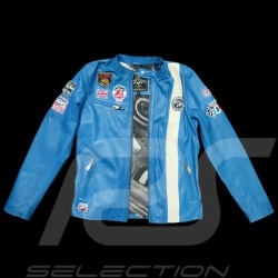 Veste cuir Jean-Pierre Jarier F1 Team Bleu blue leather jacket blaue Lederjacke homme